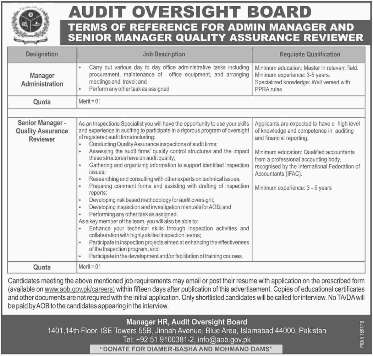 Audit Oversight Board Jobs Latest 2018
