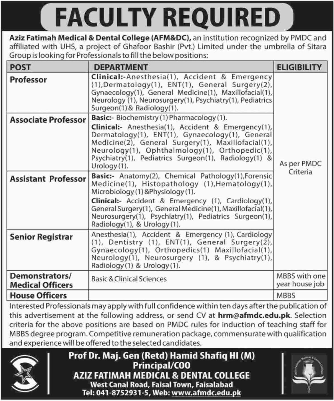 Aziz Fatimah Medical & Dental College Jobs 2018