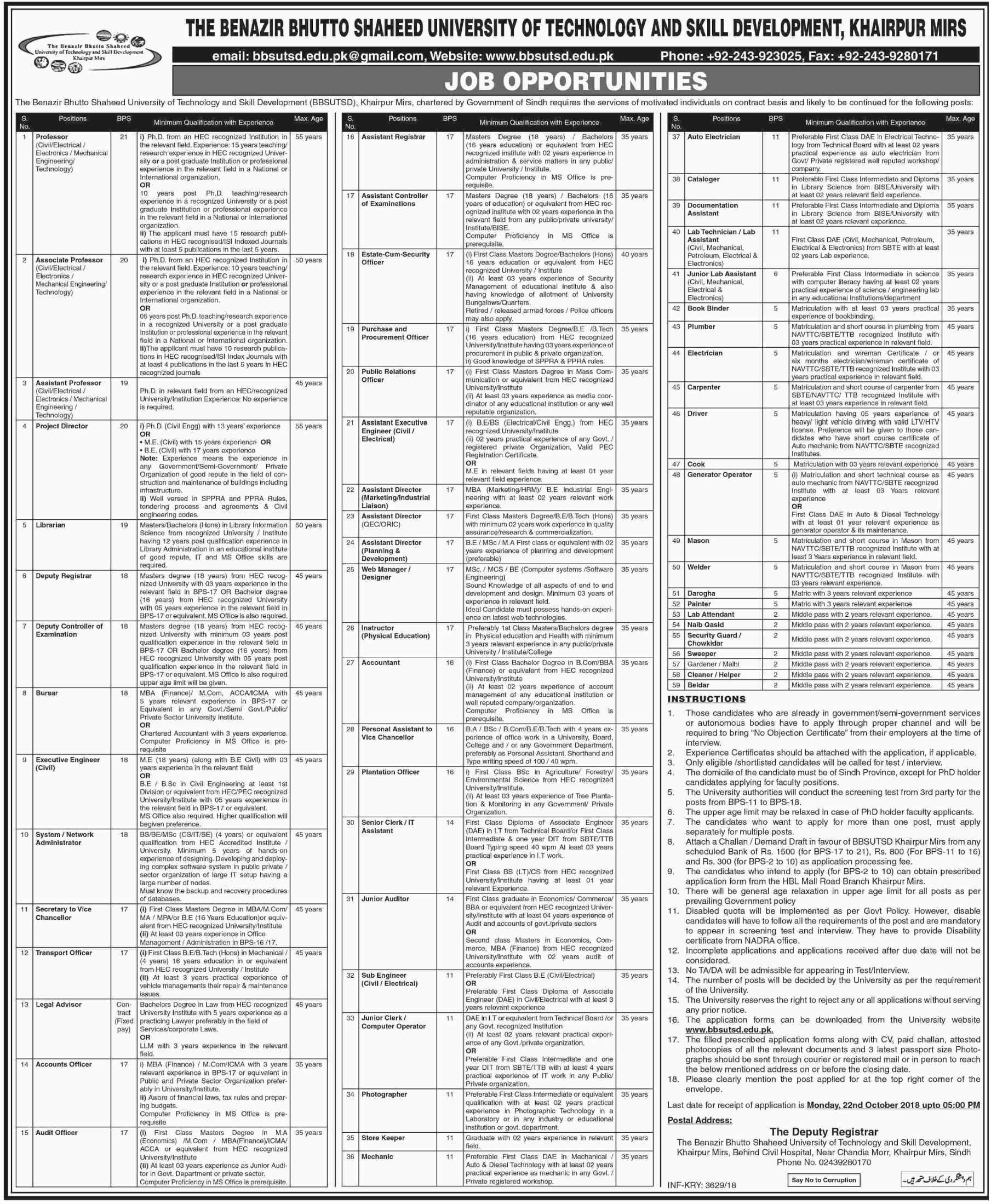 BBS University of Technology & Skill Development Khairpur Jobs 2018