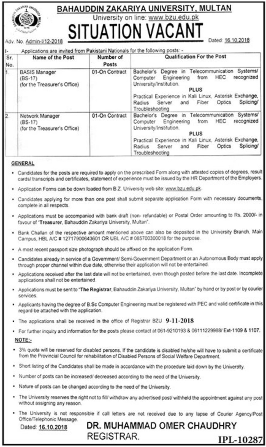 BZU Multan Latest Jobs 2018