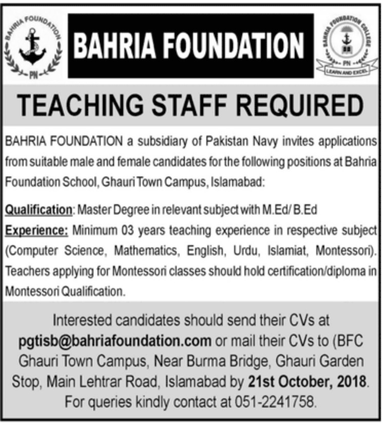 Bahria Foundation Latest Jobs 2018