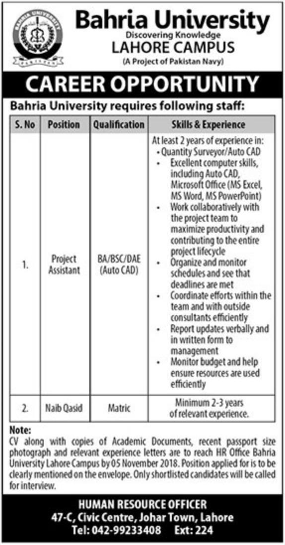 Bahria University Lahore Latest Jobs 2018