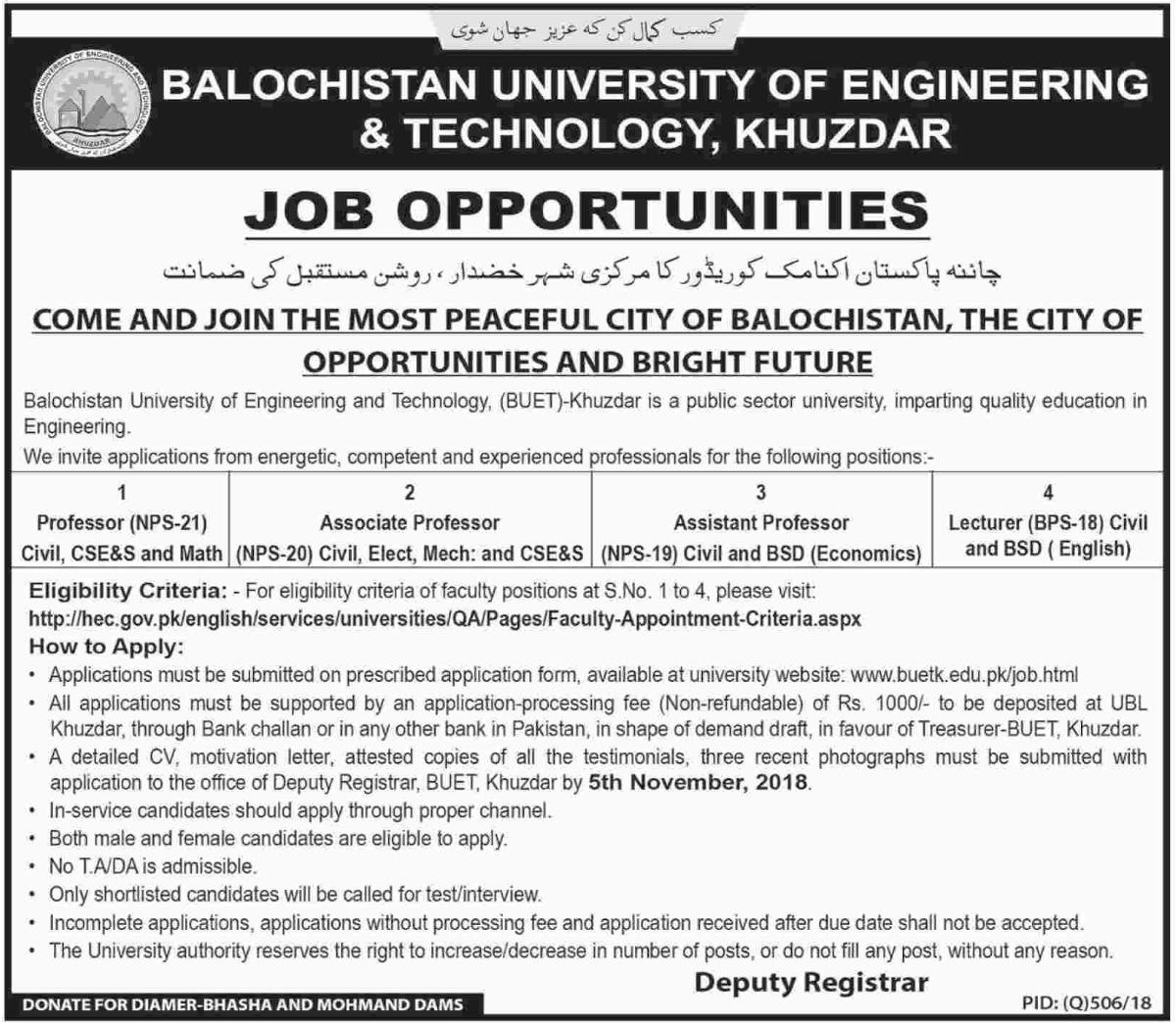 Balochistan University of Engineering & Technology Khuzdar Jobs 2018