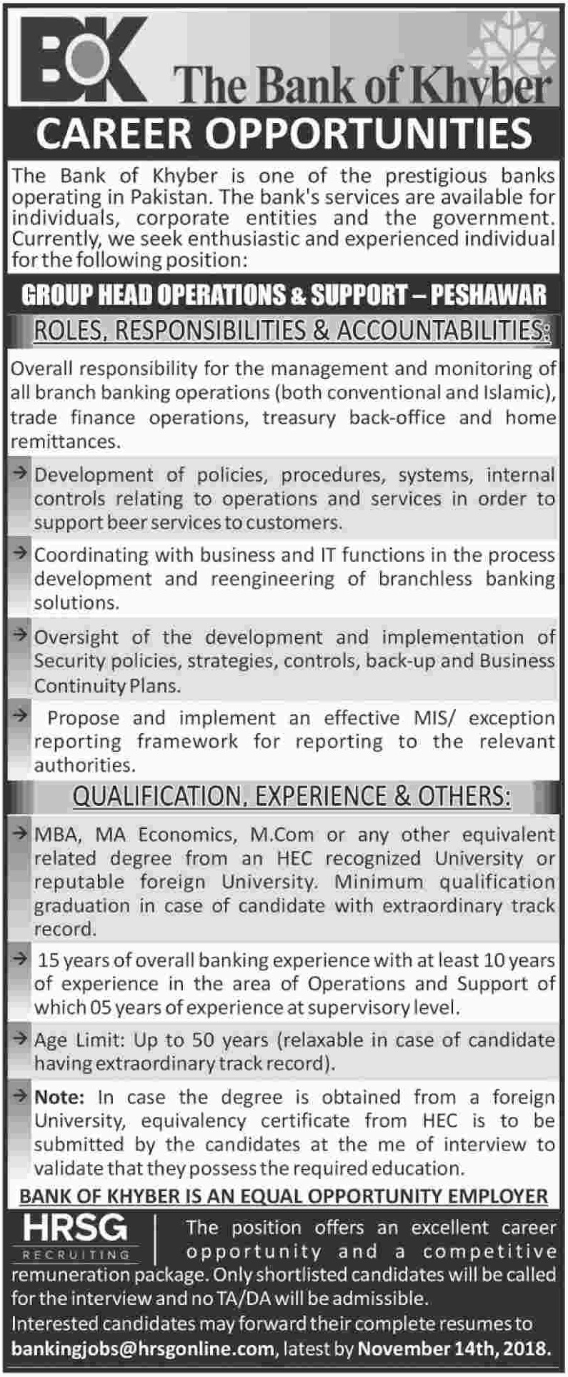 Bank of Khyber Jobs 31 October 2018