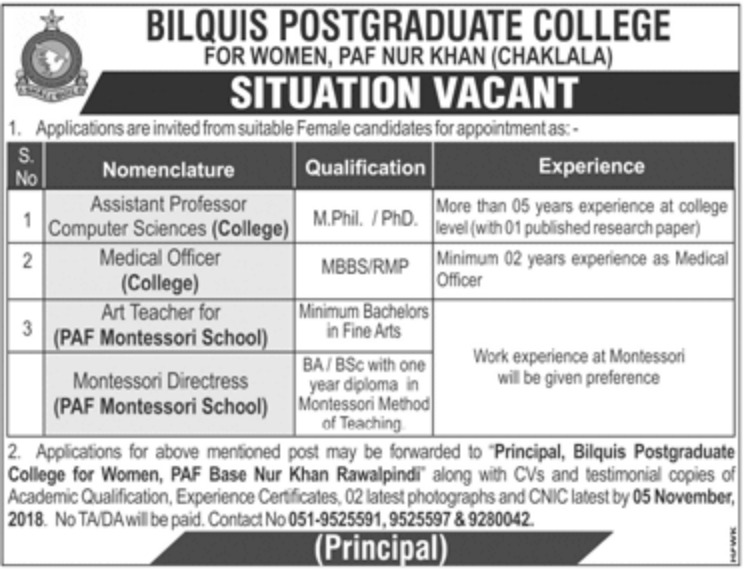 Bilquis Postgraduate College Chaklala Jobs Latest 2018