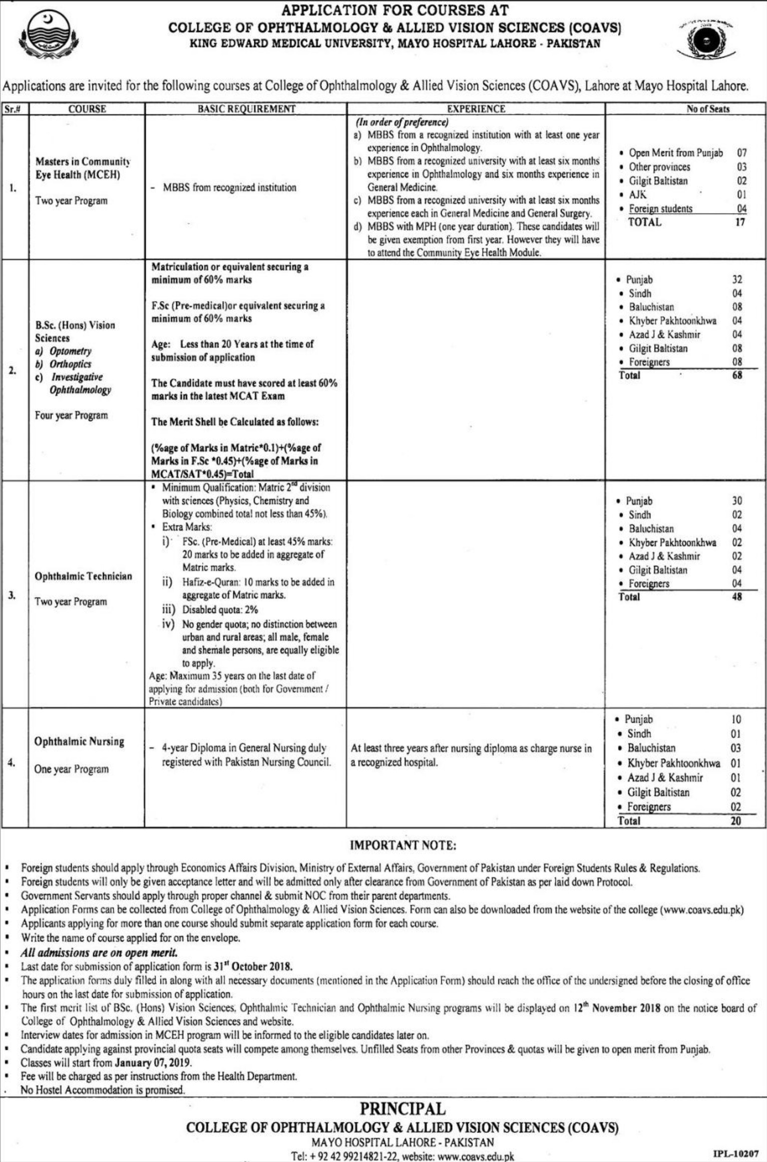 COAVS Mayo Hospital Lahore Courses 18 October 2018