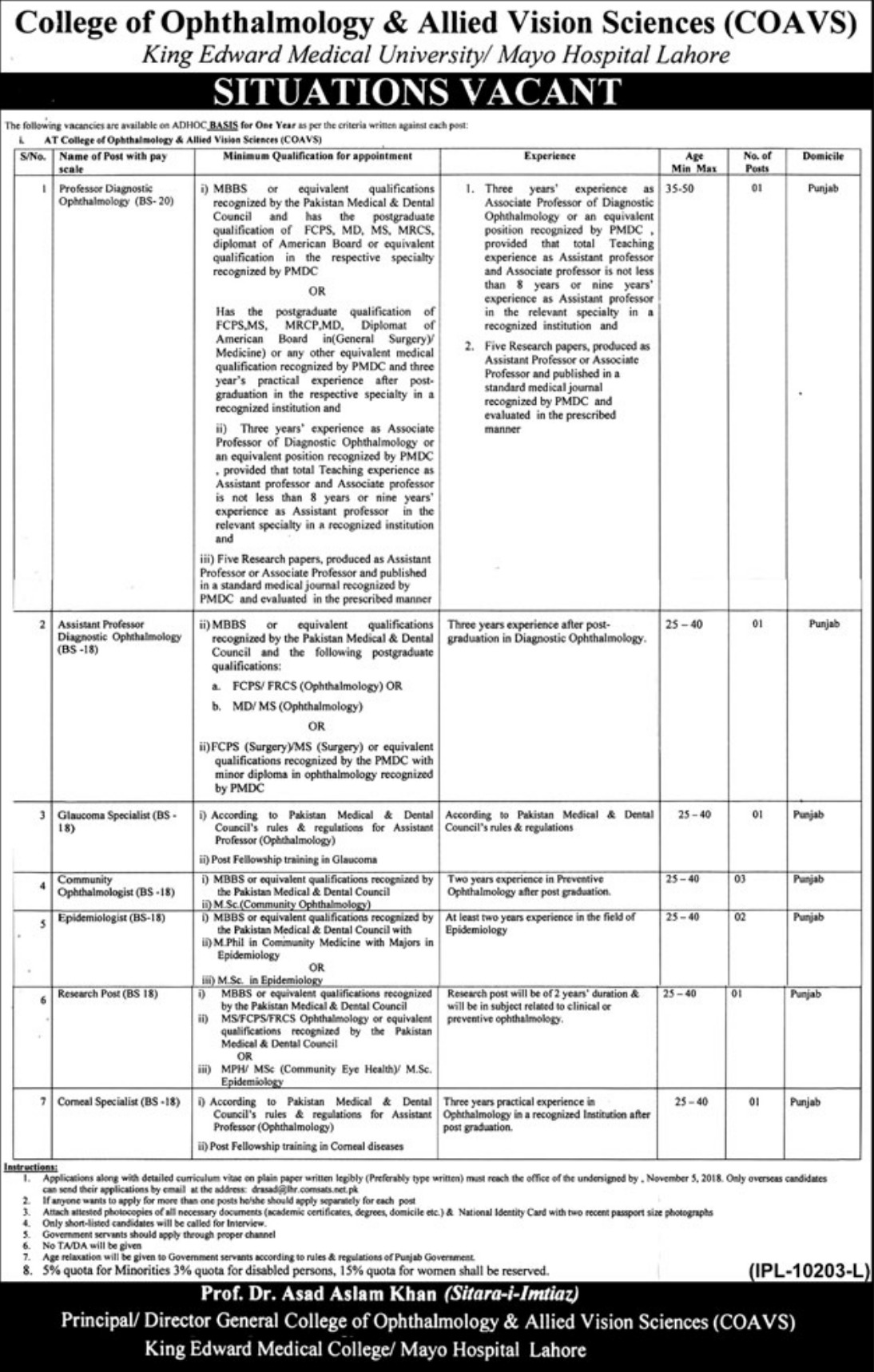 COAVS Mayo Hospital Lahore Latest Jobs 2018