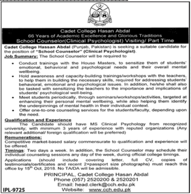 Cadet College Hasan Abdal Clinical Psychologist Jobs 2018