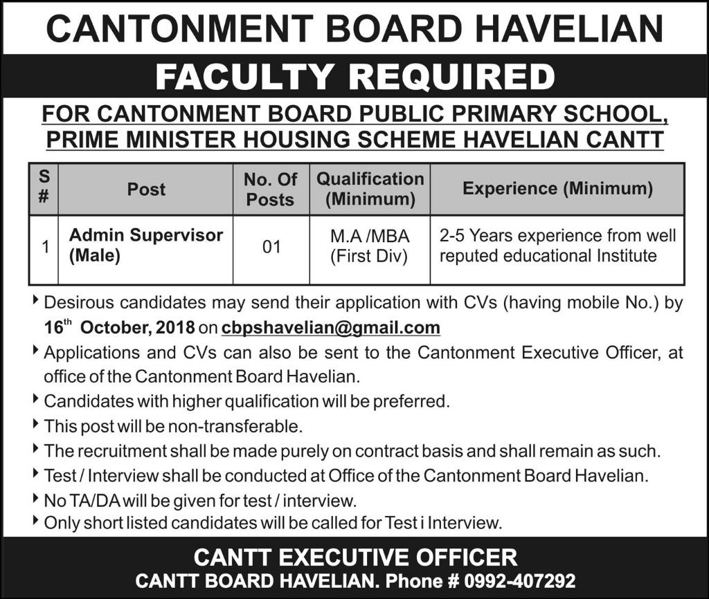 Cantonment Board Havelian Cantt Jobs 2018