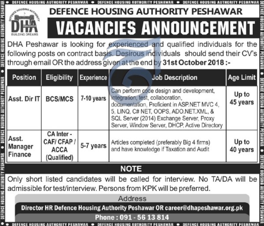 Defence Housing Authority Peshawar Jobs Latest 2018