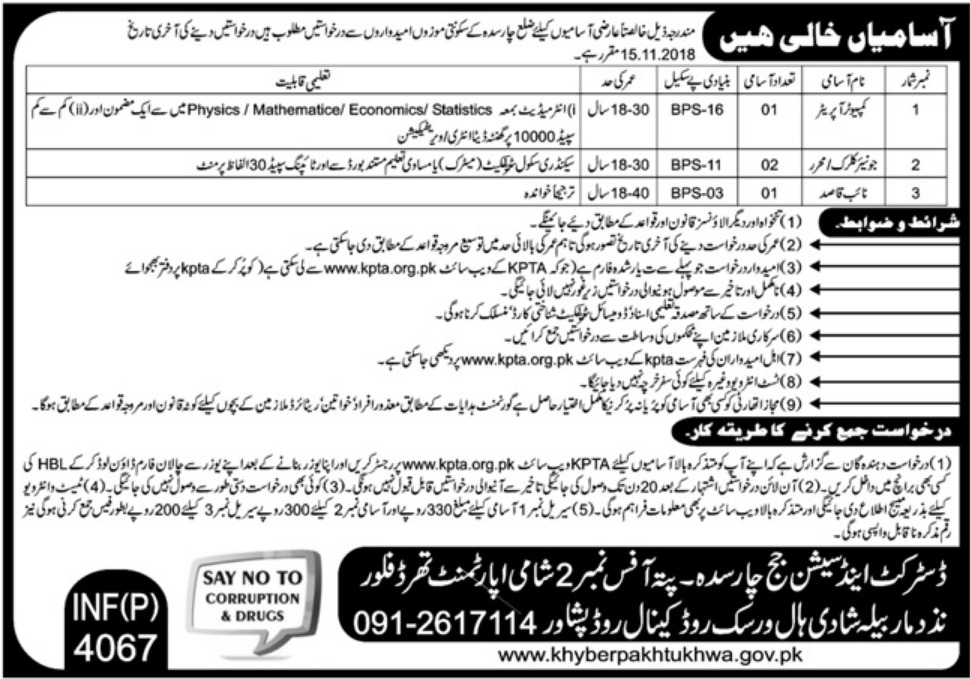 District & Session Court Charsadda KPK Latest Jobs 2018