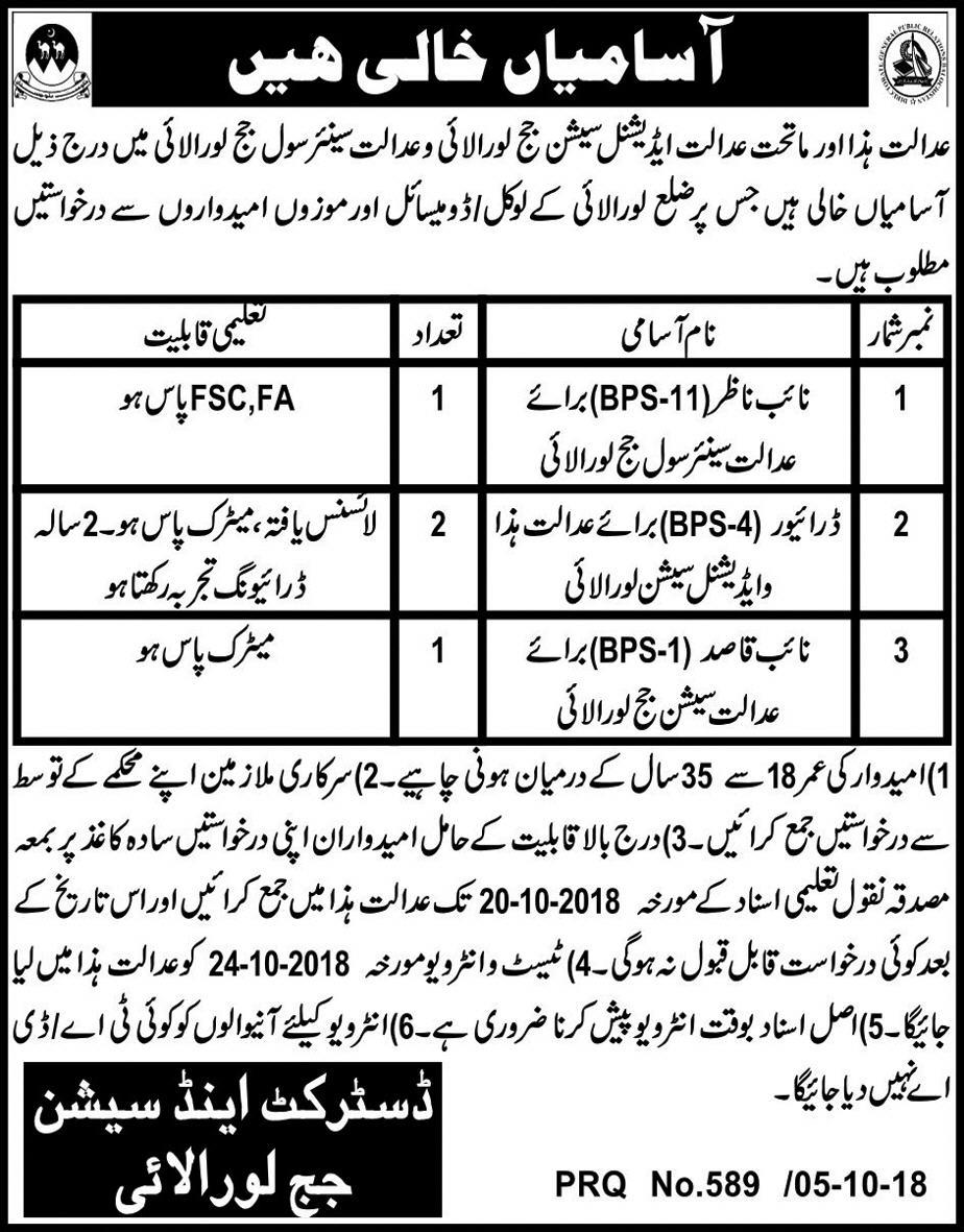 District & Session Court Loralai Balochistan Jobs 2018