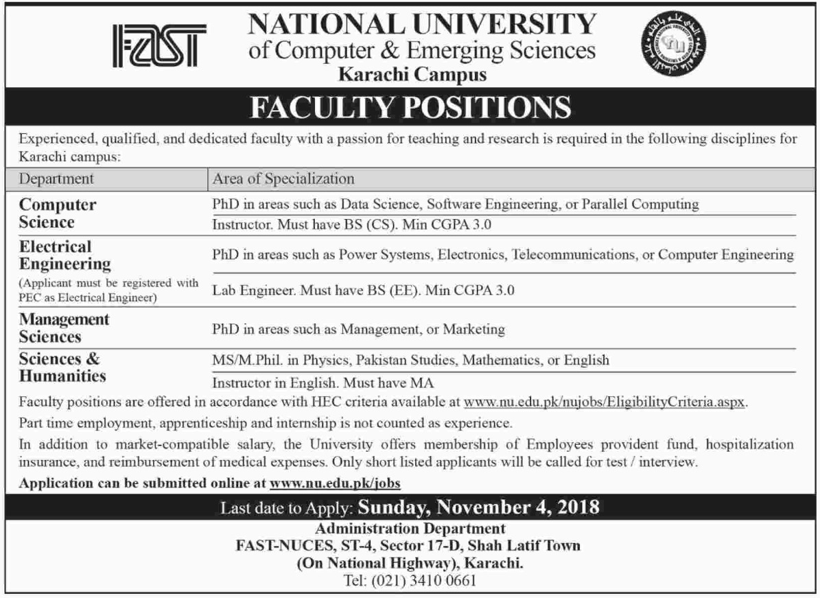 FAST National University Jobs Latest 2018