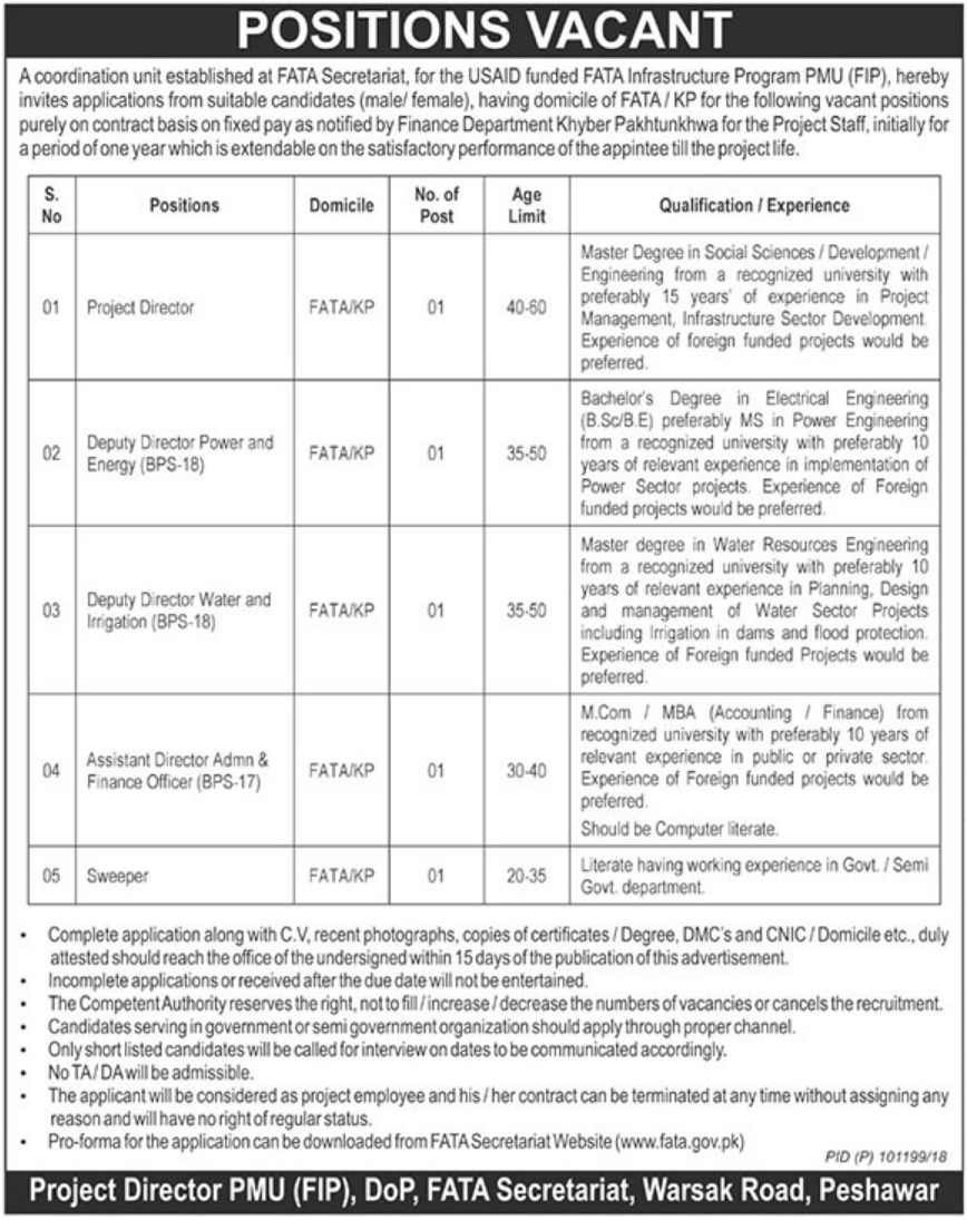 FATA Secretariat Warsak Road Peshawar Latest Jobs 2018