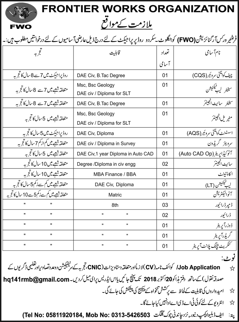 FWO Frontier Works Organization Jobs 2018