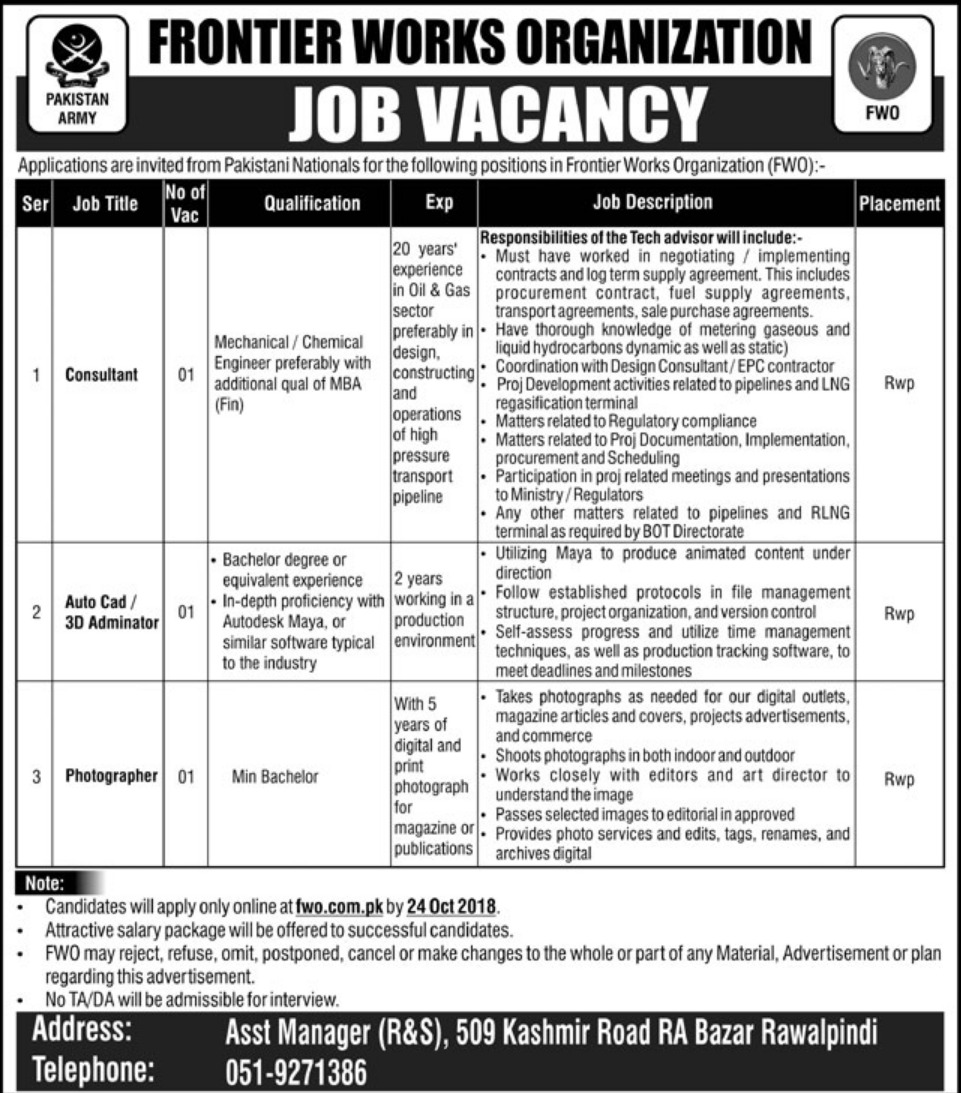 FWO Frontier Works Organization Latest Jobs 2018