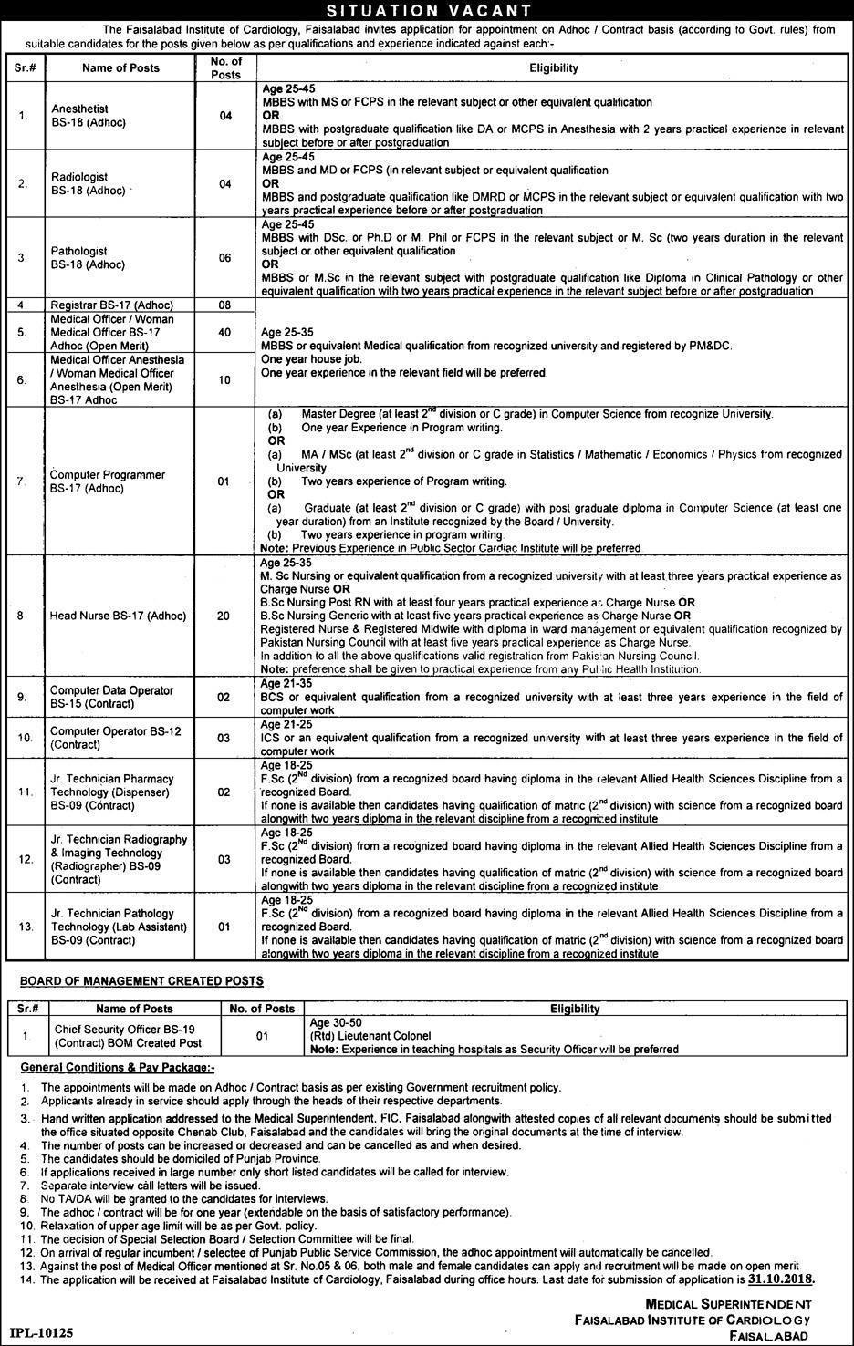 Faisalabad Institute of Cardiology FIC Latest Jobs 2018