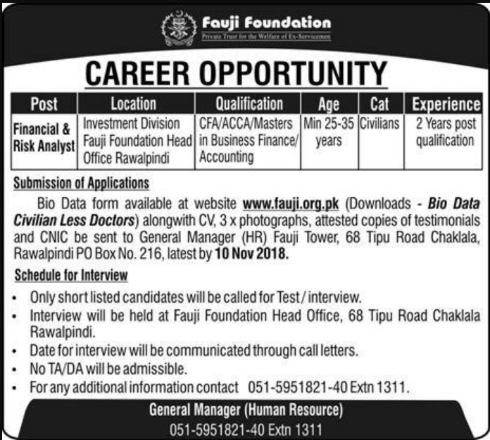 Fauji Foundation Jobs Latest 2018