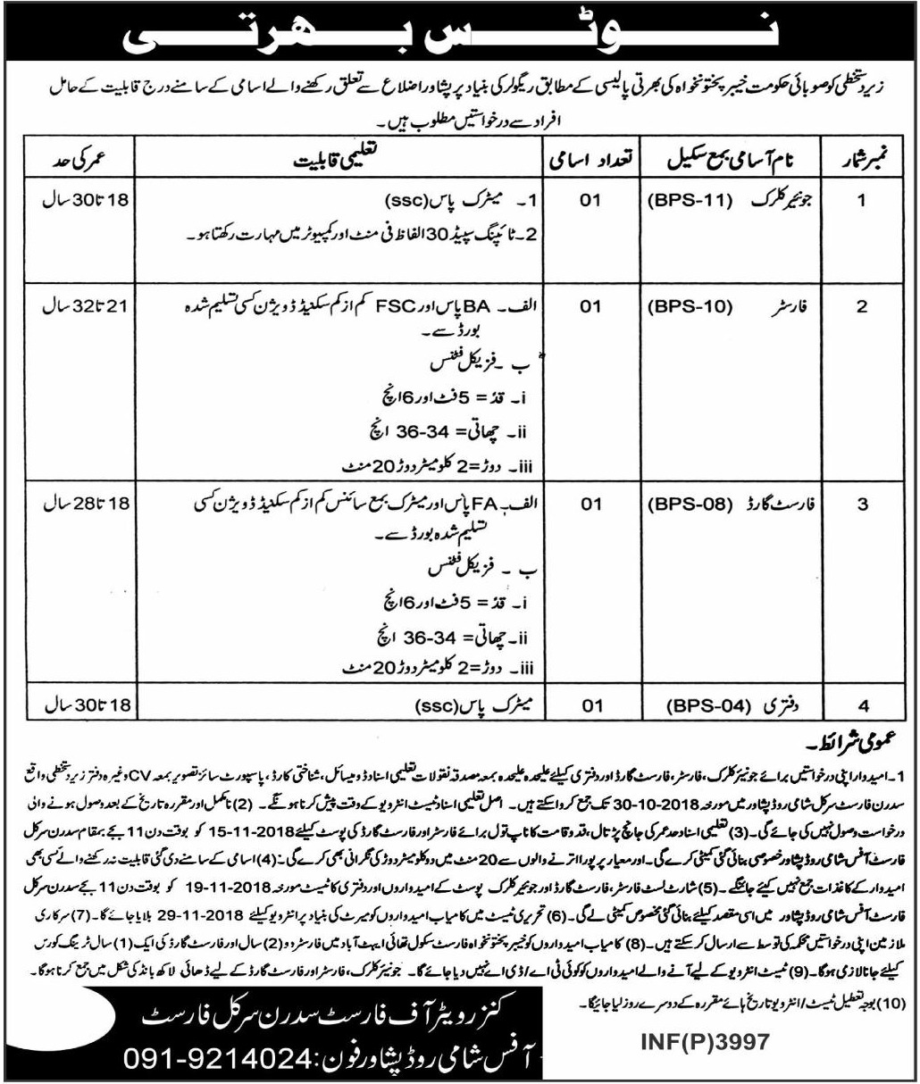 Forest Department Peshawar KPK Latest Jobs 2018