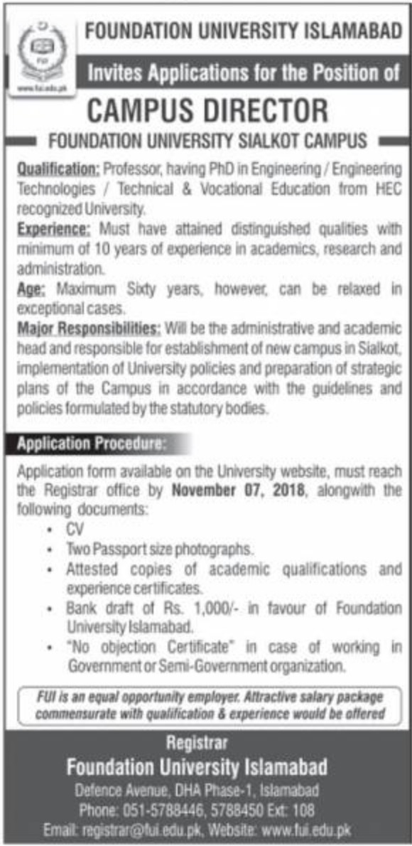 Foundation University Islamabad Jobs Latest 2018