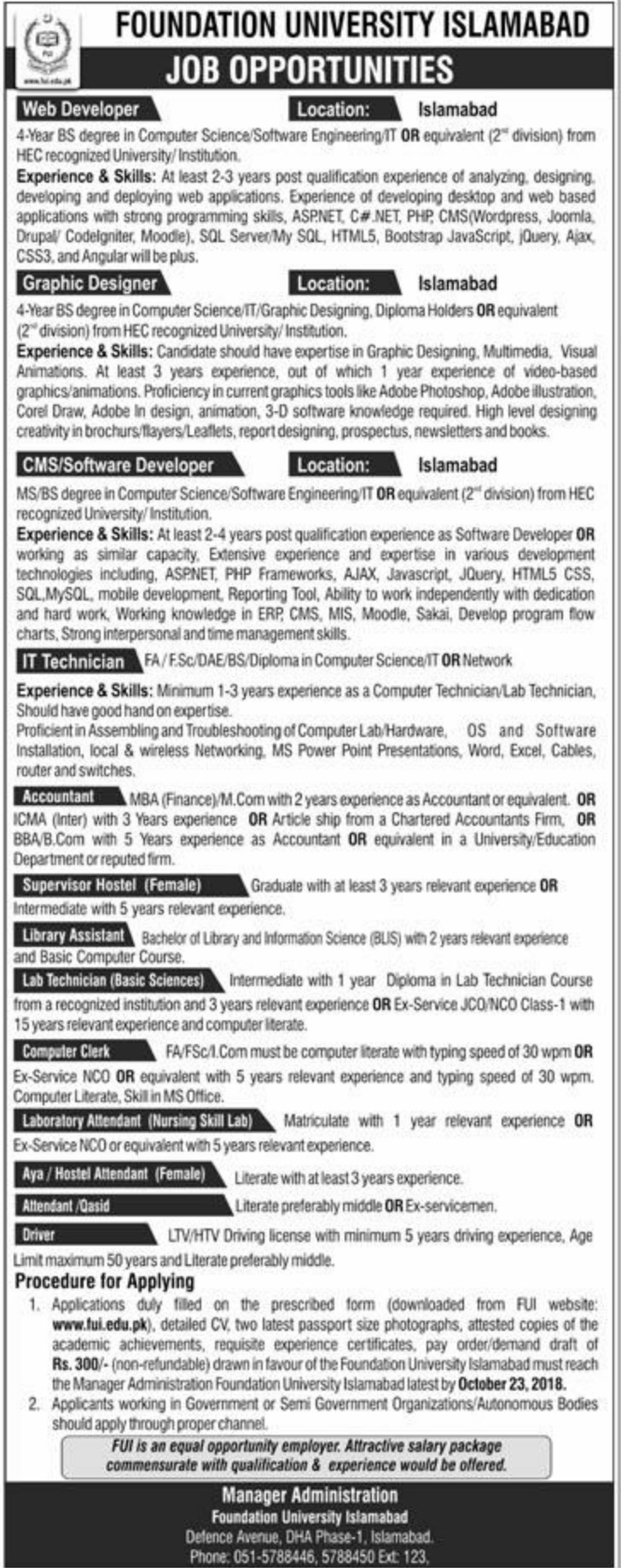 Foundation University Islamabad Latest Jobs 2018