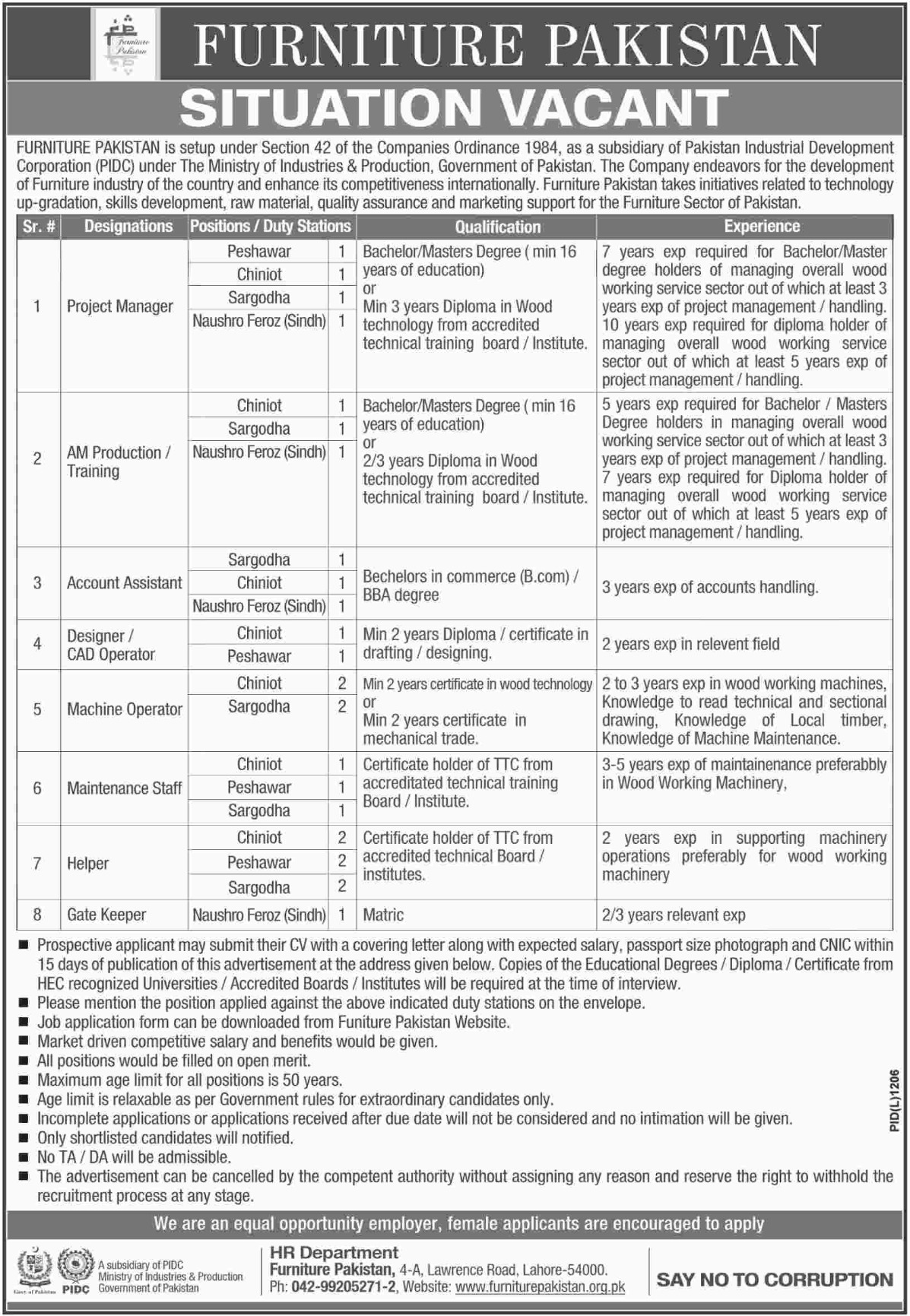 Furniture Pakistan Latest Jobs 2018