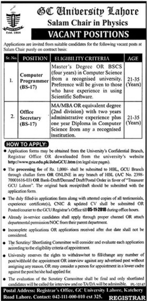 GC University Lahore Latest Jobs 17 October 2018