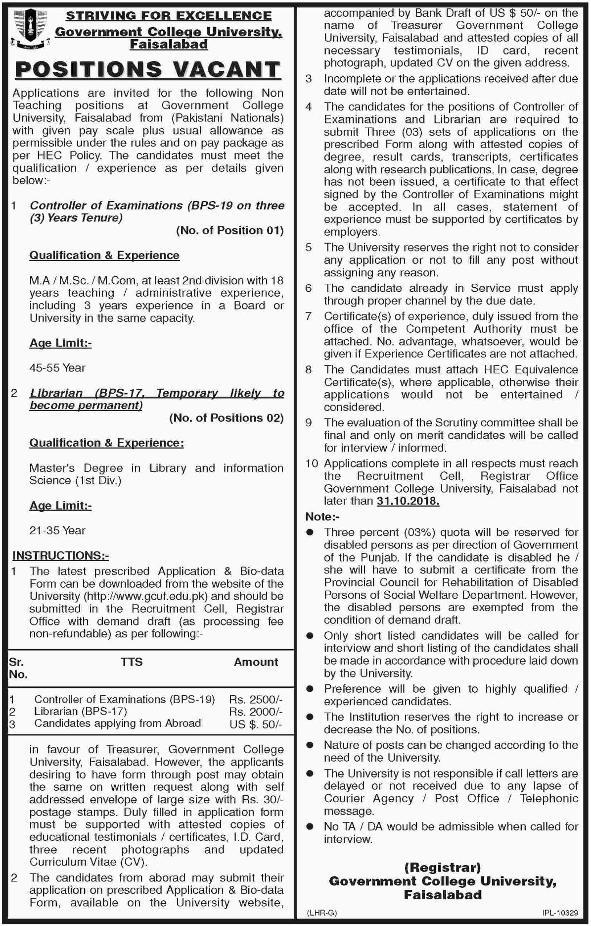 GCUF Government College University Faisalabad Jobs 26 October 2018