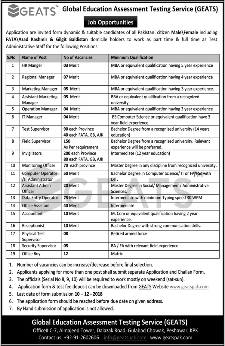 GEATS Global Education Peshawar KPK Jobs 2018