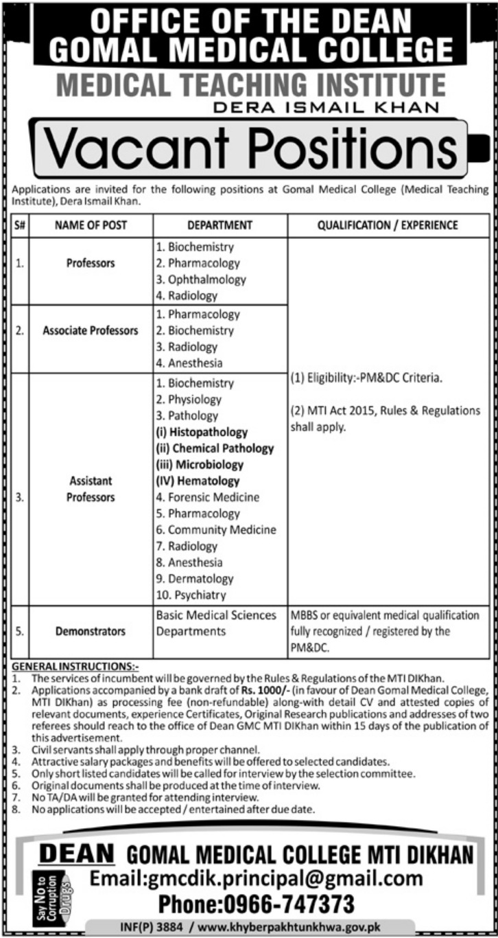 Gomal Medical College D.I.Khan Jobs 2018