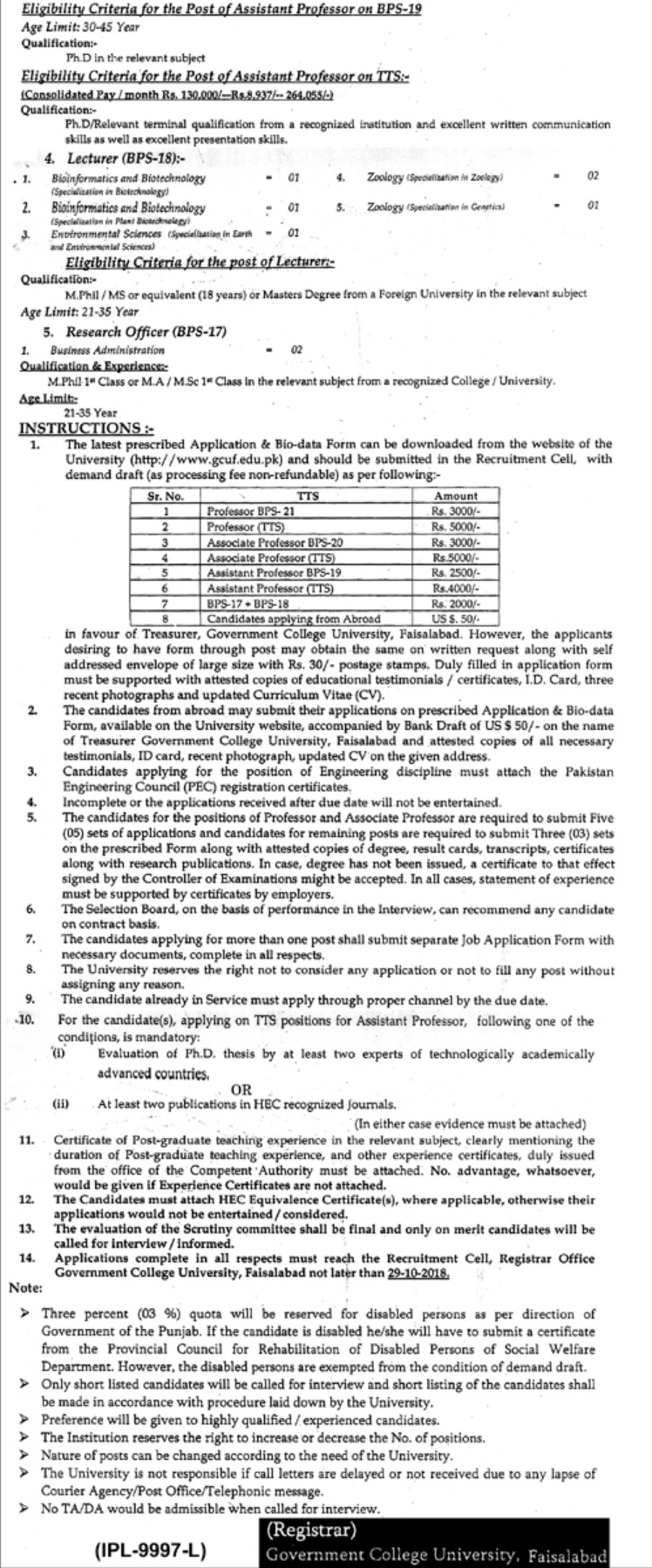 Govt College GC University Faisalabad Latest Jobs 2018