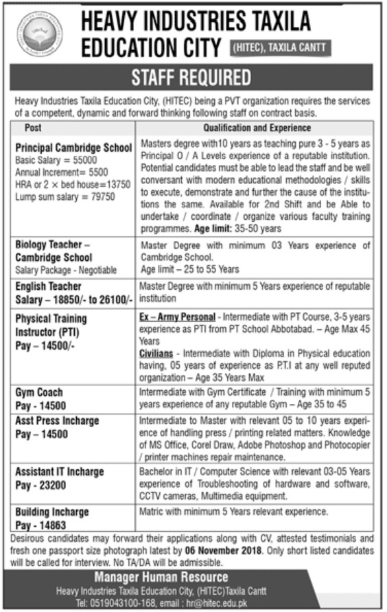 HITEC Taxila Cantt Latest Jobs 2018