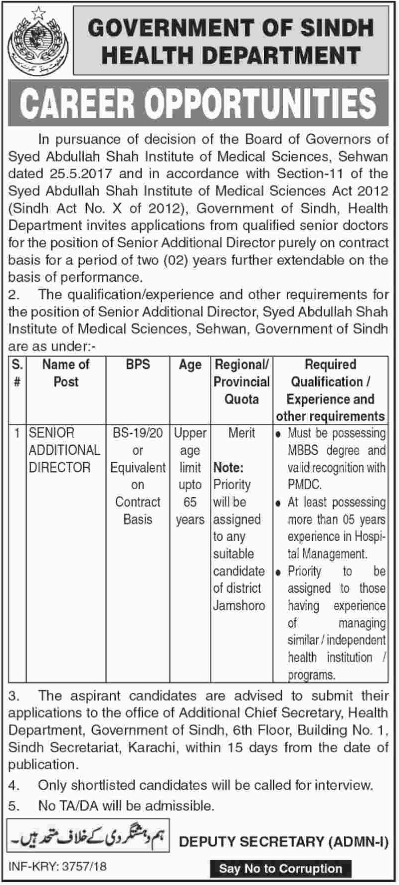 Health Department Govt of Sindh Latest Jobs 2018