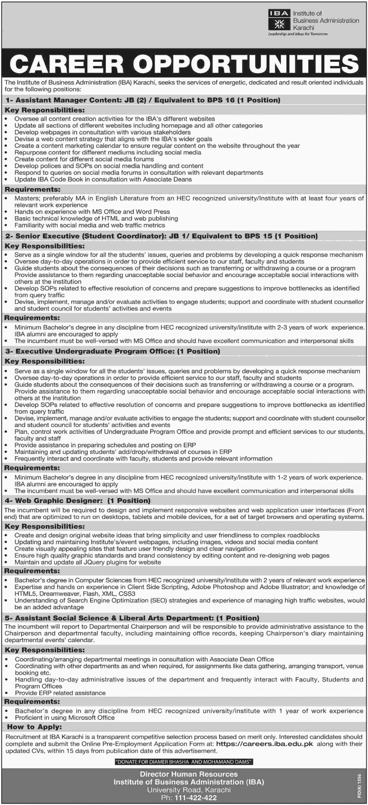 IBA Karachi Jobs Latest 28 October 2018