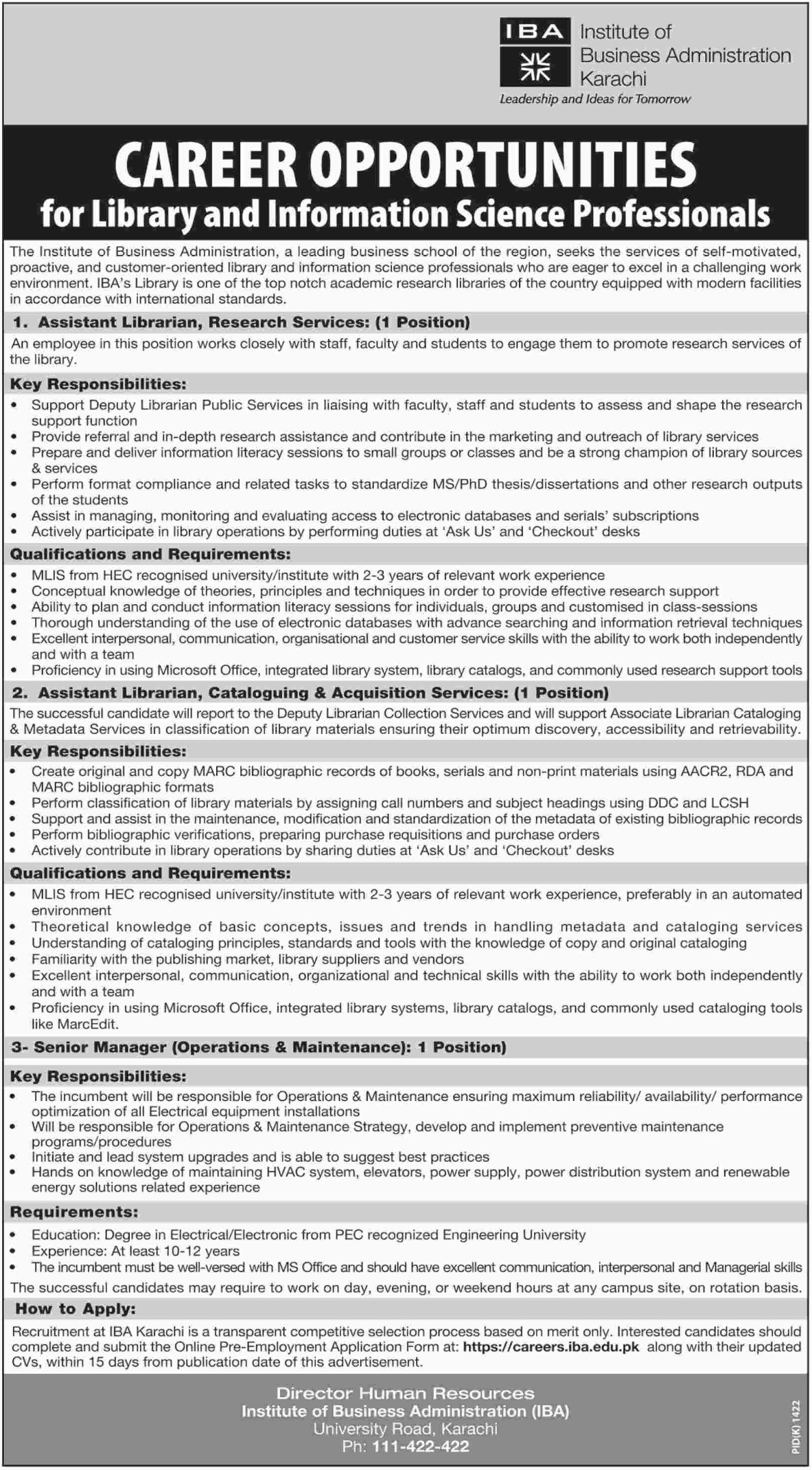 IBA Karachi Latest Jobs 19 October 2018