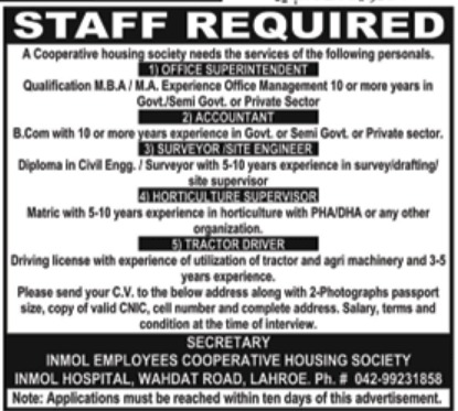 Inmol Employees Cooperative Housing Society Lahore Jobs 2018