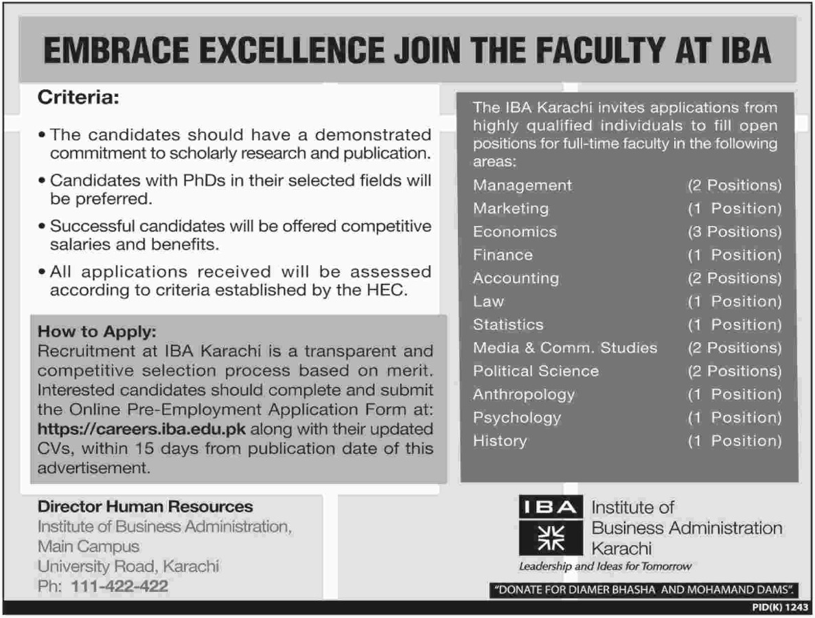Institute of Business Administration IBA Karachi Faculty Jobs 2018