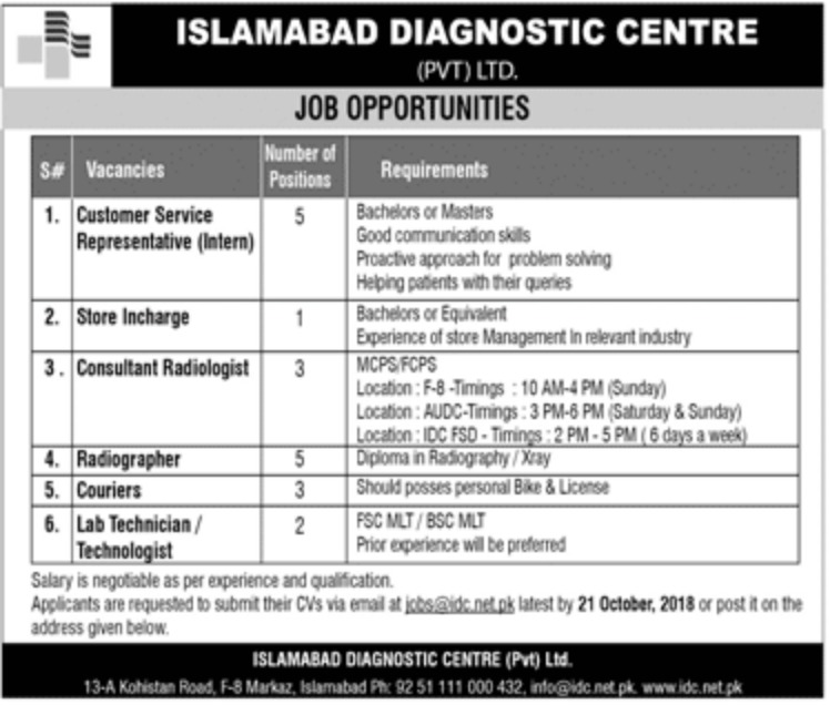 Islamabad Diagnostic Centre Latest Jobs 2018