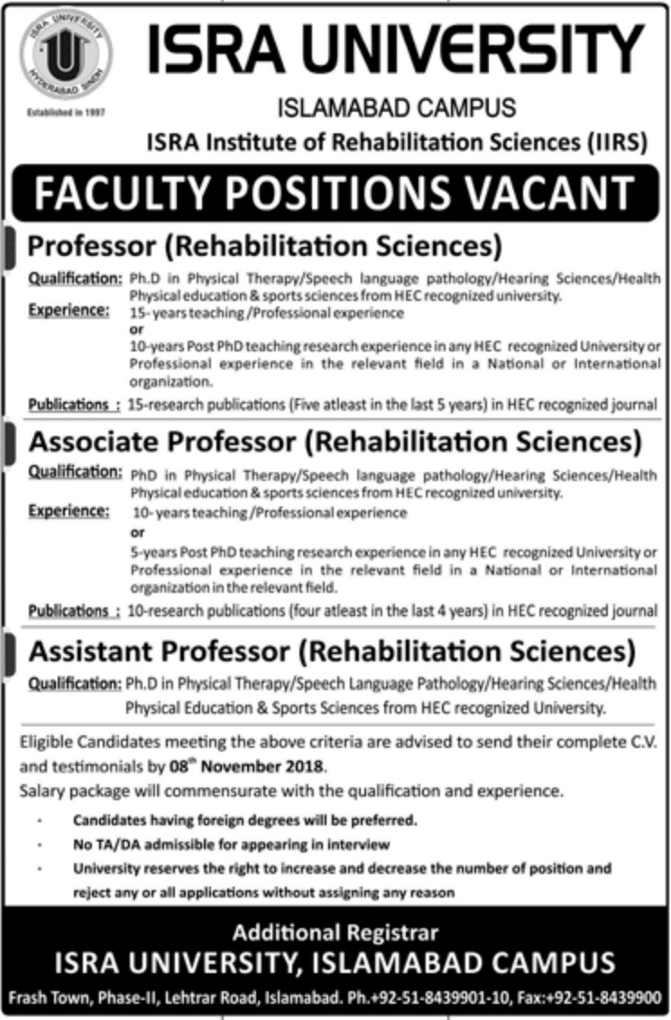 Isra University Islamabad Jobs Latest 2018