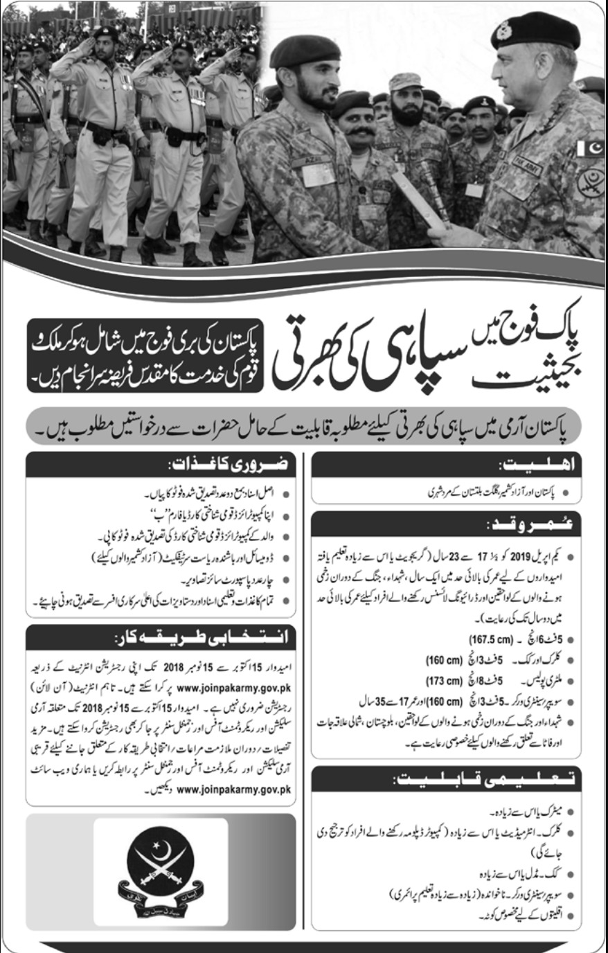 Join Pakistan Army as Soldier 2018