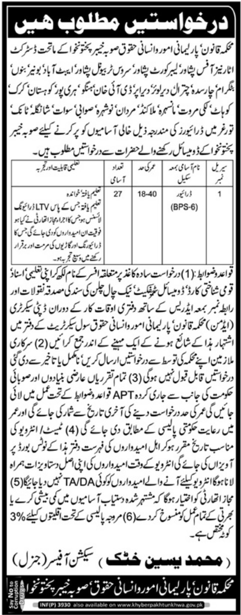Law & Parliamentary Affairs Department KPK Jobs 2018