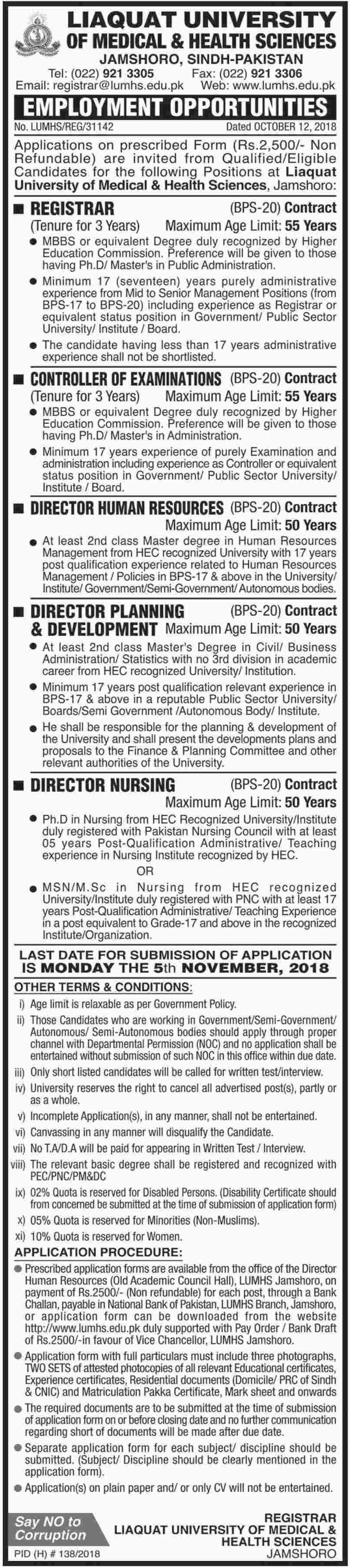 Liaquat University of Medical & Health Sciences Jamshoro Sindh Jobs 2018