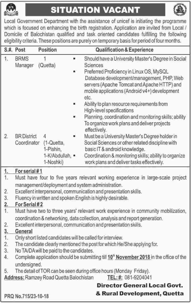 Local Government & Rural Development Quetta Balochistan Jobs 26 October 2018