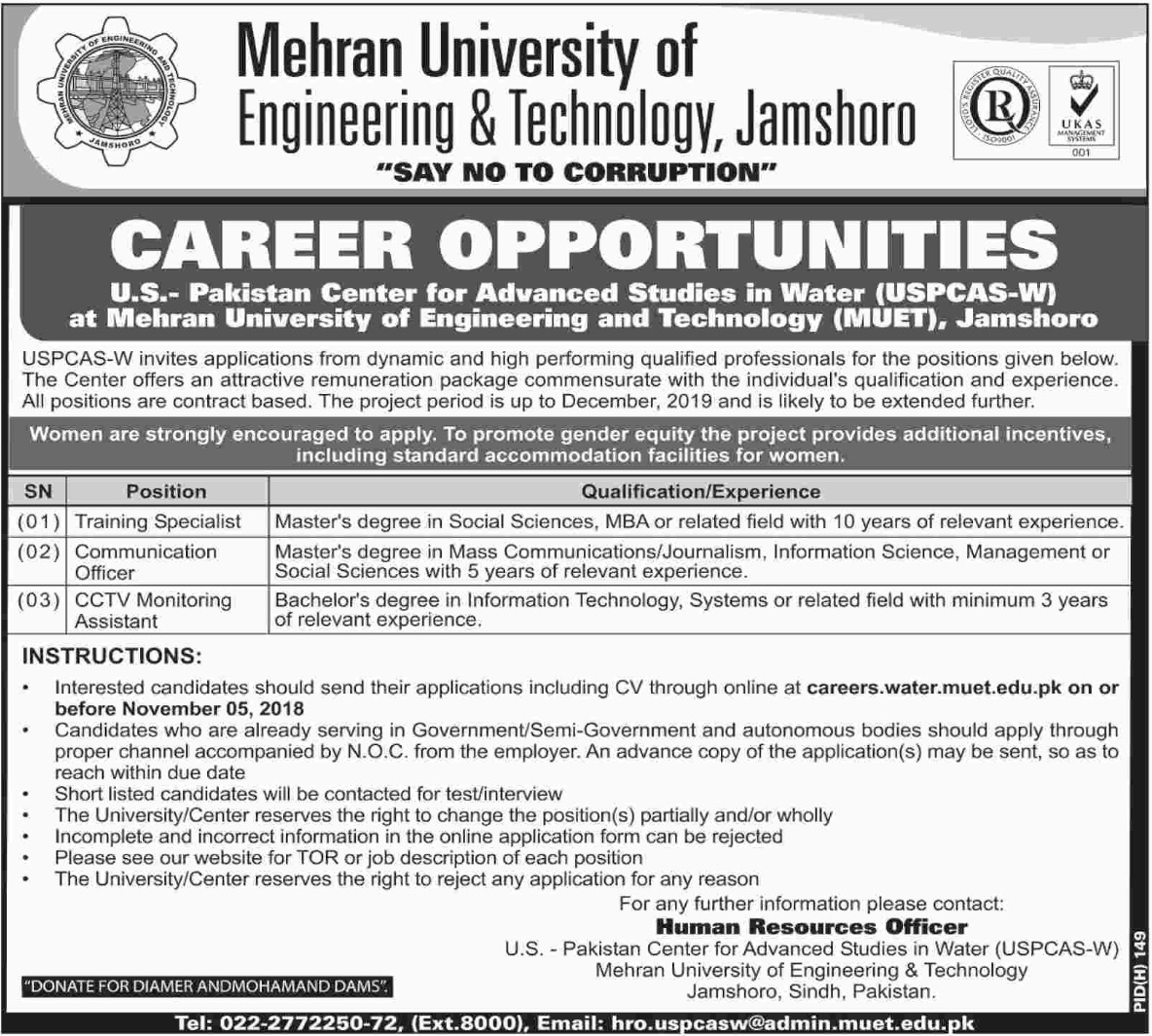 MUET Mehran University Jamshoro Latest Jobs 2018