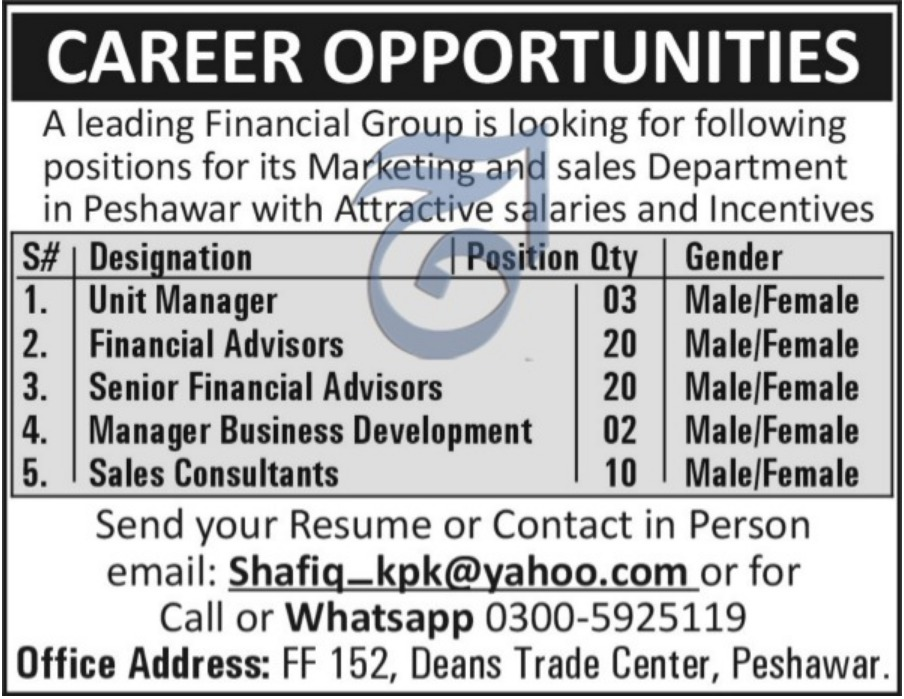 Marketing & Sales Department Peshawar Jobs 2018