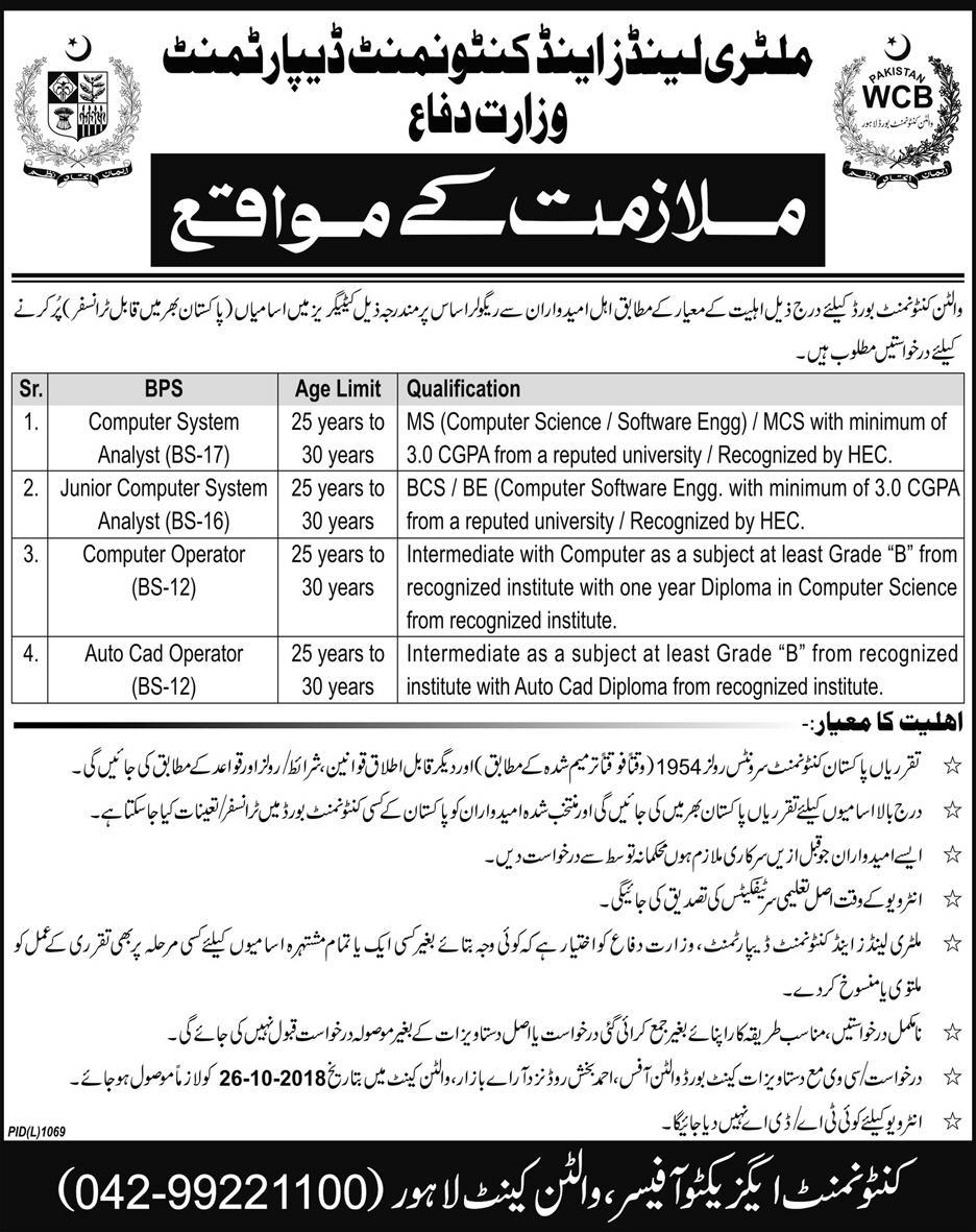 Ministry of Defence Latest Jobs 11 October 2018