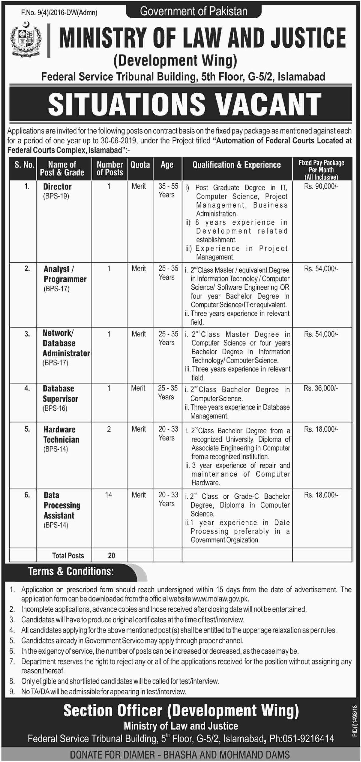 Ministry of Law & Justice Islamabad Government of Pakistan Jobs 2018