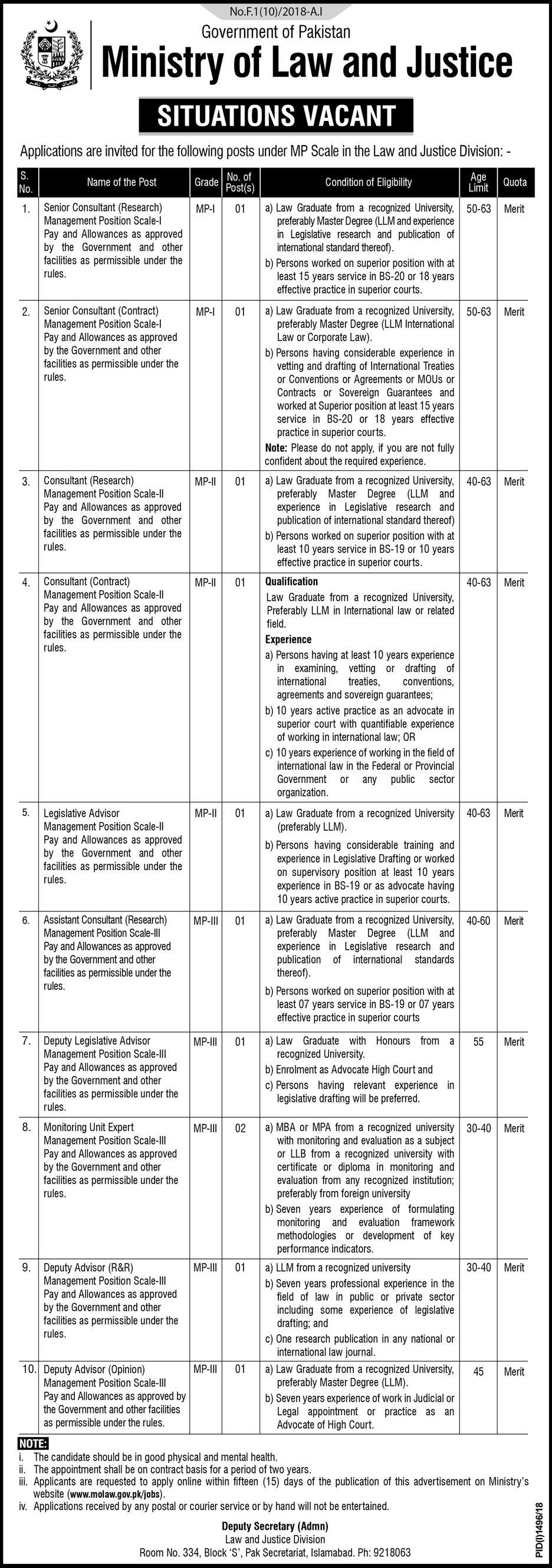Ministry of Law and Justice Government of Pakistan Jobs 2018