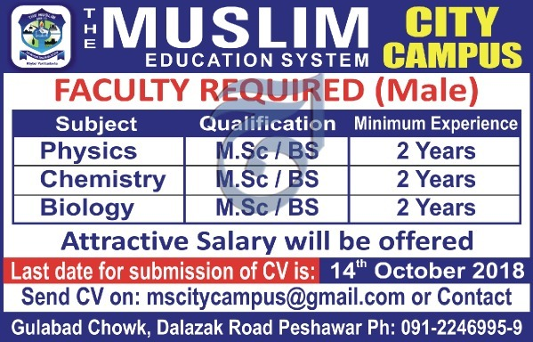 Muslim Education System Peshawar Jobs 2018