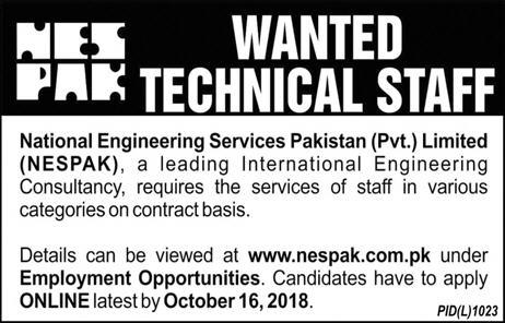 NESPAK Latest Jobs 14 October 2018